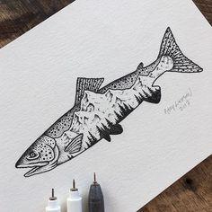 A little more to go. #art #illustration #trout