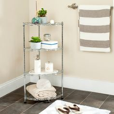 Designed to be the ultimate space-saver, this corner wire rack is the answer to all your organizational needs. Deep vertical layers of storage and sturdy construction make this contemporary look ideal for the garage, kitchen or playroom. Corner Shelving Unit, Cabinet Shelving, Wire Shelving, Open Shelving, Adjustable Shelving, Bathroom Shelves, Bathroom Cabinets, Bathroom Ideas, Washroom