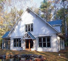 The 1,800-sq. ft. story-and-a-half, three-bedroom cottage was built with passive solar, radiant-heating and an exterior wall system made of autoclaved aerated concrete (Hebel block). Simple footprint and truss roof brought down costs. Colored galvanized-steel roof has a 100-year life expectancy. James Cameron Build/Design, is in Pittsboro, North Carolina.