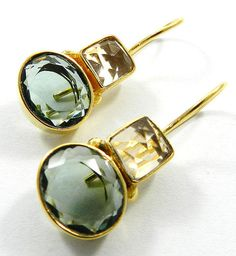 Gemstone Stud,champagne Hydro And Green Amethyst Gold Plated Brass Stud Earring,Fashion jewelry
