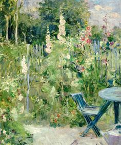 Hollyhocks, 1884  Berthe Morisot (French, 1841-1895)  Was among the few women in the original French Impressionists circle. She was the sister-in-law of Edouard Manet; she married his brother Eugene.
