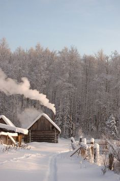 "snow and a cabin (""house in winter wood"" by Alexander Sinyavin) OUTDOORS MultiCityWorldTravel.Com For Hotels-Flights Bookings Globally Save Up To On Travel Cost Winter Szenen, Winter Cabin, Winter White, Winter House, Winter Season, Italy Winter, Snow Cabin, Cozy Cabin, Cozy Cottage"