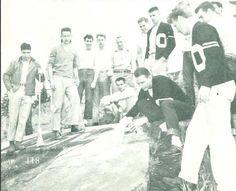 Freshmen painting the O on Skinner's Butte during the annual Junior Weekend festivities 1948. From the 1948 Oregana (University of Oregon yearbook). www.CampusAttic.com