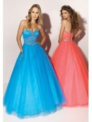 Tulle Strapless Sweetheart Beaded Bodice Floor-length Prom Dress
