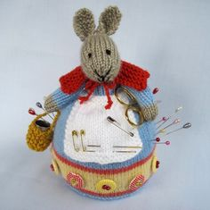 ROWENA RABBIT - knitted pincushion - sewing companion - PDF email knitting pattern - ePattern. $3.95, via Etsy.