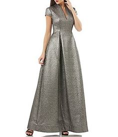 796bed43f41e0 JS Collections V-Neck Metallic Jacquard Gown Event Styling