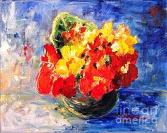 Vase with Nasturtiums -  Original SOLD. Prints and greeting cards available.