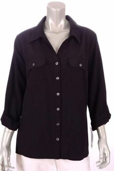 876a08e873ef6d Elementz Woman Size 2X Black Button Down Blouse Retail Packaging, Button  Downs, Chef Jackets