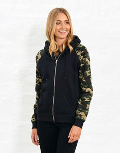 Camo Zip Through Sweat