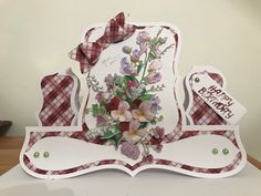 Tattered Lace shaped cards USB & charisma Sweet pea and Pansy