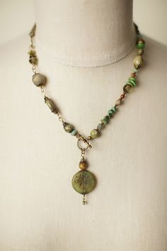 """Anne Vaughan Designs - Rustic Creek 17"""" Glass Dragonfly Gemstone Necklace, $64.00 (http://www.annevaughandesigns.com/rustic-creek-handmade-glass-dragonfly-gemstone-necklace/)"""