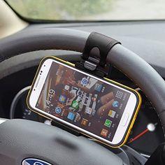 Kingtoys® multi-fonctionnelle Titulaire de téléphone mobile Support de Fixation de Téléphone Mobile sur Volant de Voiture (Noir):…