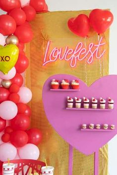 The cupcakes at this Love Fest Valentine's Day party are so cute!! See more party ideas and share yours at CatchMyParty.com #catchmyparty #partyideas #valentnesday #cupcake #valetinesdaycupcake