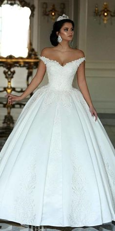 Fabulous Satin Off-the-shoulder Neckline Ball Gown Wedding Dresses With Beaded Lace Appliques NEW! Fabulous Satin Off-the-shoulder Neckline Ball Gown Wedding Dresses With Beaded Lace Appliques Western Wedding Dresses, Sexy Wedding Dresses, Princess Wedding Dresses, Perfect Wedding Dress, Bridal Dresses, Wedding Gowns, Beaded Dresses, Lace Wedding, Wedding Venues