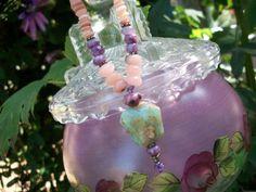 Blue Opal Gemstone Necklace by GratefulBeads on Etsy, $30.00