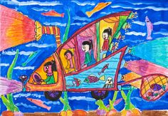 'Underwater Car' by Qinyu Qian, Aged 7, China: 1st Contest, Silver #KidsArt #ToyotaDreamCar