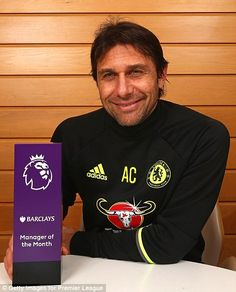 Italian manager Antonio Conte was given the Manager of the Month award after winning all six matches in December 2016 Chelsea Team, Chelsea Football, Antonio Conte, Stamford Bridge, Premier League, The Row, Hair Cuts, Soccer, Management