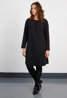 Anna ScholzTwill Neck Pleat Dress - Plus Size Clothing every day basic