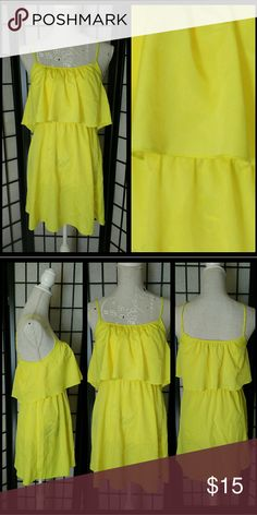 """Bright Yellow Flounce Ruffle Top Summer Dress Super cute and lovely! In great shape :)  Needs a little steam/delicate iron ~ Enjoy! :)  Approx. 24"""" from top center to bottom hem. *Dark areas under dress are my mannequin's design. No stains, rips, or tears.*  Light & airy 100% polyester.  Plz ask Q's ~ I love happy buyers! :) Ali & Kris Dresses Mini"""