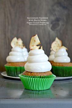 Applesauce Cupcakes topped with Maple Brown Sugar Cloud Frosting (butterless and NO powdered sugar!)