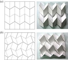 Usually, origami-based morphing structures are designed on the premise of 'rigid folding', i. the facets and fold lines of origami can be replaced with rigid panels and ideal hinges, respectively. Origami Ball, Origami Folding, Paper Folding, Origami Boxes, Dollar Origami, Origami Design, Paper Crafts Origami, Paper Crafting, Origami Wall Art