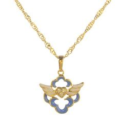 Girls 18k Goldplated Crystals Heart Love Guardian Angel Pendant Necklace 15 -- Learn more by visiting the image link.