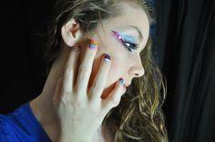 Tribal nail art on my daughter, Meagan
