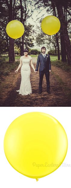 What a beautiful couple! In this picture, they are using oversized balloons as part of their #wedding #decor. get this look using our Jumbo Round Balloon in yellow. ($6.00)