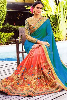 Silk saree with Dark Peach color pleats which is enhanced with cut work border and contrast Turquoise Blue colored pallu.... #rajwadi #silksaree #embroidered #elegant #pretty #classic #designer