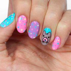 Cute Combo: Polka Dot With Cat Nail Art