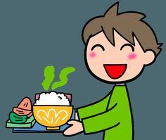 おいしいご飯 ご飯を運ぶ 配膳するイラスト   ゴゴンのイラスト素材KAN
