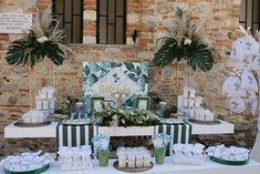Διακόσμηση βάπτισης αγοριού με tropical & gold λεπτομέρειες - EverAfter Baptism Decorations, Table Decorations, Tropical, Bloom, Party, Furniture, Home Decor, Unique, Ideas