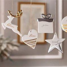 Handmade Ceramic Ornament Set Ceramic Christmas Ornaments Etsy – Famous Last Words Christmas Clay, Christmas Ornament Crafts, Clay Ornaments, Handmade Christmas, Holiday Crafts, Etsy Christmas, Star Ornament, White Christmas, Home Crafts