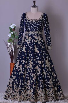 Buy Dark Blue Velvet Dori Embroidered Bridal Gown Online Indian Gowns Dresses, Indian Fashion Dresses, Indian Designer Outfits, Designer Dresses, Designer Wear, Indian Outfits, Pakistani Wedding Outfits, Pakistani Bridal Dresses, Bridal Outfits