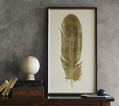 Gold Leaf Feather Wall Art #potterybarn