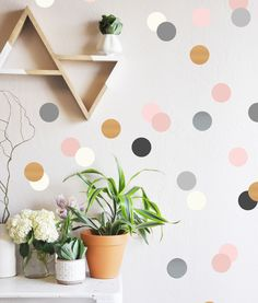 Neutrals and Metallics Confetti Dots Wall Decal. LOVE the triangle shelves