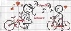 This Pin was discovered by Roy Cross Stitch Heart, Cross Stitch Alphabet, Crochet Chart, Filet Crochet, Hand Embroidery Patterns, Cross Stitch Embroidery, Cross Stitch Designs, Cross Stitch Patterns, Wedding Cross