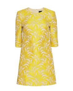 Exclusive for Intermix Clarke Jacquard Shift Dress: A bright jacquard brings stunning appeal to this shift dress. 7/8 length sleeves. Zipper closure at back. Lined. In yellow.   Fabric: 89% polyester/11% viscose Lining: 100% polyester Made in Vietnam. Model Measurements: Height 5'10 1/2; Waist 24 ; Bust ...