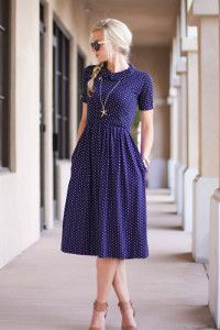 The Day Date Dress purple or blue with polka  - either way it's cute.  And the right length too.