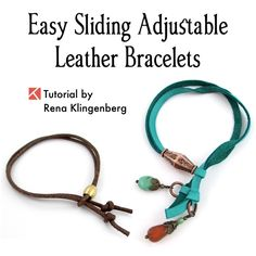 Adjustable Sliding Leather Bracelet Tutorial by Rena Klingenberg - new season bijouterie Leather Jewelry Tutorials, Leather Bracelet Tutorial, Suede Bracelet, Cord Bracelets, Jewelry Making Tutorials, Ankle Bracelets, Leather Bracelets, Diy Id Bracelet, Leather Cord
