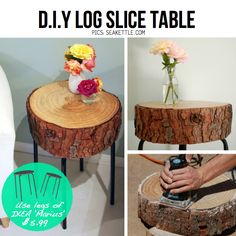 Make your own log side table with Ikea legs. DIY Log slice table using IKEA 'Marius' stool
