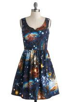 ModCloth Cosmic Short Length Tank top thick straps) Fit & Flare Heart and Solar System Dress Miss Frizzle, Retro Vintage Dresses, Mod Dress, Geek Chic, Pop Fashion, Modcloth, Plus Size Fashion, What To Wear, Cute Outfits