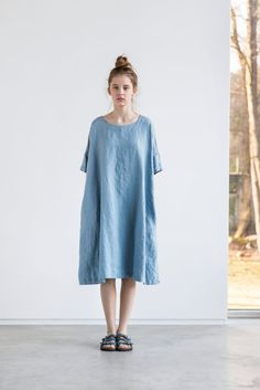 Oversized loose fitting linen summer dress with drop shoulder