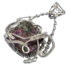 """Rough Russian Eudialyte 925 Sterling Silver Pendant 2"""" PD545816"""