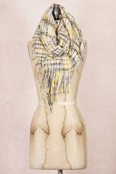 Cute plaid scarf for only $28 on gliks.com! Look by M Plaid Blanket Scarf in Yellow SM207- YELL