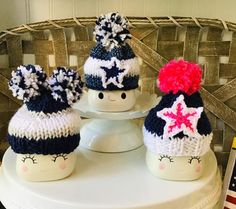 This item is unavailable Valentine Hats, Cute Marshmallows, Nfl Dallas Cowboys, Tray Decor, Winter Christmas, Wood Crafts, Craft Supplies, Crochet Hats, Unique Jewelry