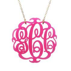 Moon and Lola - Paris Script Monogram Necklace Hot Pink