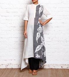 White & Grey Malmal Batik Applique Dress