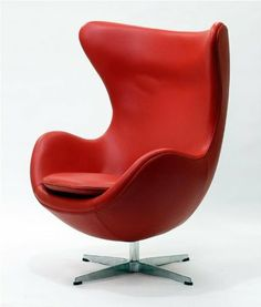 Arne Jacobsen style Egg Chair in Red Aniline Leather Cool Bean Bags, Copenhagen Hotel, Arne Jacobsen, Egg Chair, Contemporary Furniture, Classic Furniture, Modern Classic, Furniture Design, Cushions