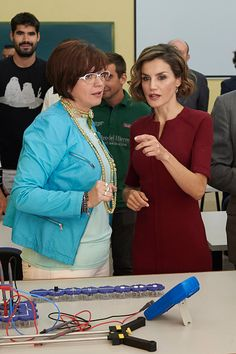 Royal Family Around the World: Queen Letizia attends the Opening of the training course 2015-2016 at the Institute of secondary education 'Javier Garci­a Tellez' on October 1, 2015 in Careers, Spain